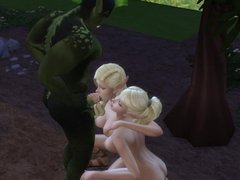 The two elf Sluts in the woods sucking the Orc