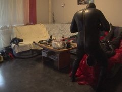 Two horny rubber dudes blow cock deep down her throat