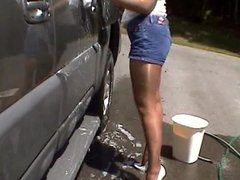 Car wash in shiny pantyhose