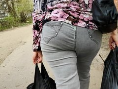 Cum on big ass granny in tight jeans