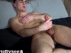Solo army recruit Sammy Nicks solo jacks off his big cock