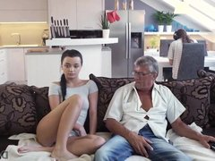 DADDY4K. Raven-haired angel gets old and young sexual exp