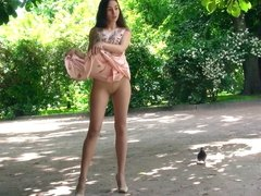 Russian pantyhose model outdoor photo shoot.