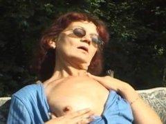Masturbation in a public place. Grandma Marsha