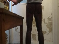 skinny tight push up leather woman pants cum