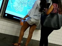 Indian teen girl Nice legs at the train station