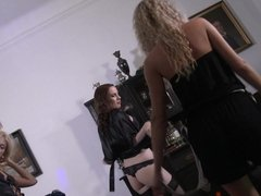 Black Leather Dresses, Black Pearl Thongs, Black Stockings