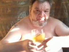 Drunk Fat Pig Drinks Piss and Cums in a Sticky Mess