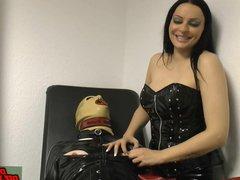 German domina make nippel torture with nails at bdsm slave