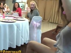 Girls sucking cock and making it cum at a bachelorette party