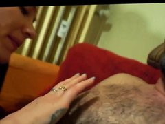 Woman sucks hairy chest man's nipples for 5 minutes