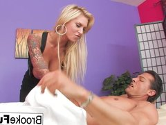 Brooke Gets Fucked By Nick Manning Over A Massage Table
