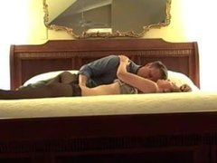 Petite American wife fingered in black stockings on bed