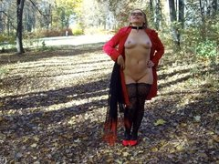 Public flashing and blowjob in autumn park