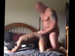 Straight Construction Muscle Daddy Cums In Black Twink