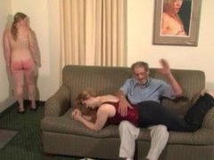 Girl spanks younger sister and gets spanked after