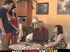 His innocent brunette gf seduced by old granny and dad