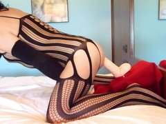 Anal adventures of a whore wearing black bodystocking 19