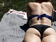 Bikini girl with sexy feet and great ass