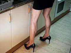 Heels and Nylon in kitchen.