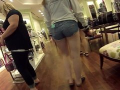 College pawg in booty shorts at the mall