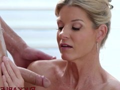 Big ass blonde MILF India Summer is eager to fuck stepson