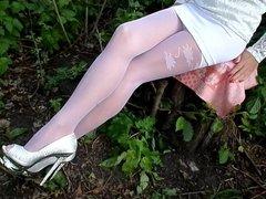 White stockings and white panties, high heels