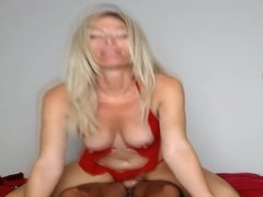 Hot Blonde Milf Takes a Ride on a Giant Cock