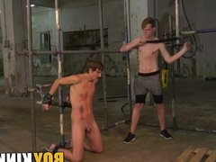 Bound twink sucks dick and whipped by his dominant master