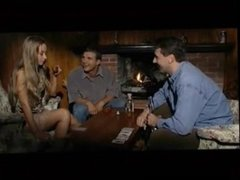 French girl plays poker with two guys
