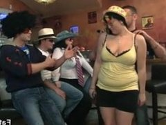 Drunk chubby party girls get naked