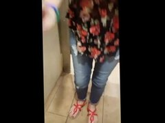 she licks the pussy of her friend in the public toilet