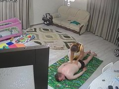 Wife gives her husband a massage