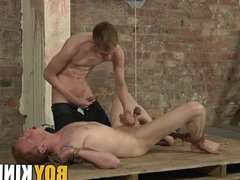 Twink gets his balls tied up and dick jerked
