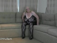 Sally in one of her bodystockings