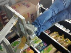Mature ebony Walmart VPL's at work part 1
