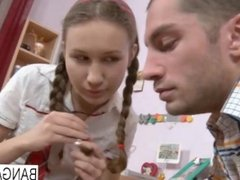 Sweet schoolgirl takes her boyfriend's cock in every hole