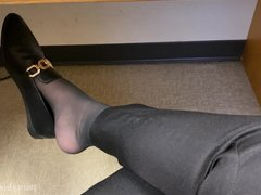 Pantyhose Foot Play in Public 2