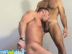 Muscular bottom cock sucked and ass licked by gay daddy