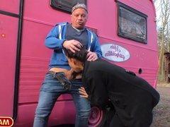 Grandpa picks up a slutty girl with his trailer